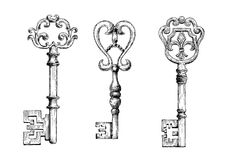 Sketch of medieval skeleton keys Royalty Free Stock Photography