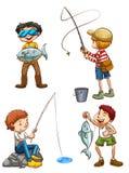 A sketch of men fishing Royalty Free Stock Image