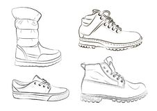 Sketch of men`s and women`s shoes on a white background. A set of winter shoes. Vector Stock Image