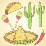 Sketch mexican set in vintage style Royalty Free Stock Photography