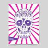 Sketch mexican skull in vintage style Stock Photography