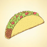 Sketch mexican taco in vintage style Stock Photo