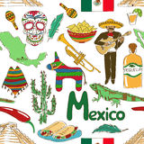 Sketch Mexico seamless pattern Royalty Free Stock Images