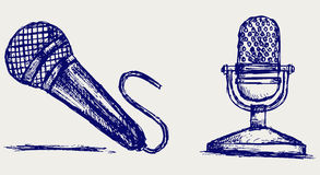 Sketch microphone. Doodle style. Vector Stock Photography