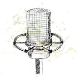 Sketch microphone. Royalty Free Stock Photo