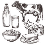 Sketch Milk Products Set Stock Photography