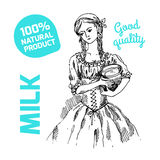Sketch of milkmaid Royalty Free Stock Photos