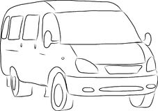 Sketch of a minibus Royalty Free Stock Photos