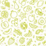 Sketch mixed fruits seamless summer pattern background vector format vector illustration