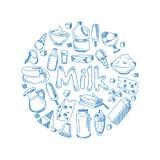 Sketch mjölkar produkter, begrepp för lantgårdfrukostvektor med klottermejerisymboler royaltyfri illustrationer