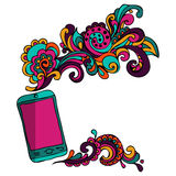 Sketch mobile  smart phone abstract content Stock Image