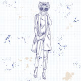 Sketch of model with dog head Royalty Free Stock Image