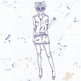 Sketch of a model with a dogs head Royalty Free Stock Photo