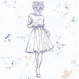 Sketch of a model with a dogs head Royalty Free Stock Images