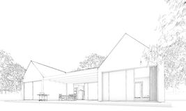 Sketch of modern atrium house – situation Royalty Free Stock Photography