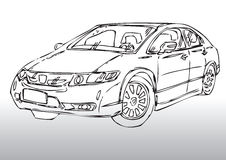 Sketch of modern car Royalty Free Stock Images