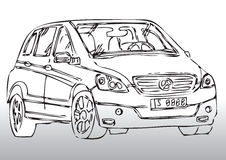 Sketch of modern car. Illustrated sketch of modern automobile with gradient white and gray background Stock Photography