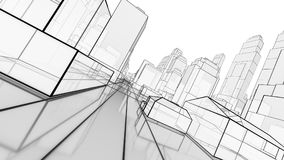 Sketch of modern city, perspective view Stock Photo