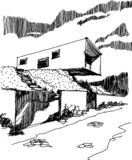 Sketch of modern detached house. Hand drawn sketch of modern detached house with fence and entrance gate situated in steep slope royalty free illustration