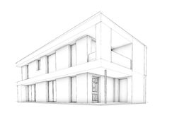 Sketch of modern house – only house. 3D Sketch of modern two storey house in white background Royalty Free Stock Photo