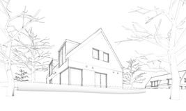 Sketch of modern house on hill – situation. Sketch of modern house standing on hill in white background Royalty Free Stock Image