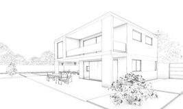 Sketch of modern house - villa, terrace and garden. View complete situation house with garden, pool, terrace and outdoor sitting in white background Royalty Free Stock Photos