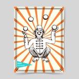 Sketch mokey juggler in vintage style Stock Images