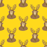 Sketch monkey with reindeer antlers. In vintage style,  New Year 2016 and Christmas seamless pattern Royalty Free Stock Image