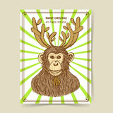 Sketch monkey with reindeer antlers. In vintage style, vector New Year 2016 and Christmas postcard Stock Photography