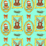 Sketch monkey. In Santa's hat and chimpanzee with reindeer's antlers in frames, vintage style, vector seamless pattern Royalty Free Stock Photos