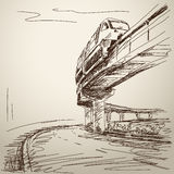 Sketch of monorail train Stock Image