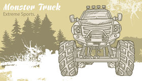 Sketch Monster Truck on the graphic forest landscape. Retro vector illustration. Extreme Sports. Adventure, travel. Outdoors art symbols. Off Road. Can be Royalty Free Stock Photography