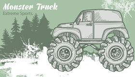 Sketch Monster Truck on the graphic forest landscape. Retro vector illustration. Extreme Sports. Adventure, travel. Outdoors art symbols. Off Road. Can be Royalty Free Stock Photo