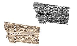 Map of Montana - vector illustration. Sketch Montana United States of America letter text map, Montana map - in the shape of the continent, Map Montana - brown vector illustration
