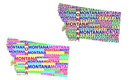 Map of Montana - vector illustration. Sketch Montana United States of America letter text map, Montana map - in the shape of the continent, Map Montana - color royalty free illustration