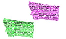 Map of Montana - vector illustration. Sketch Montana United States of America letter text map, Montana map - in the shape of the continent, Map Montana - green stock illustration