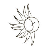 Sketch of the moon and sun on a white background. Tattoo, vector illustration. Royalty Free Stock Photos