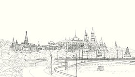 Sketch of the Moskow Kremlin Stock Image