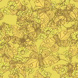 Sketch moth and daisy in vintage style. Seamless pattern Stock Image