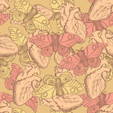 Sketch moth and heart in vintage style. Seamless pattern Royalty Free Stock Photo