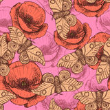 Sketch moth and poppy in vintage style. Vector seamless pattern Stock Photos