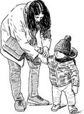 Sketch of a mother with her kid stock illustration