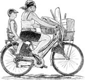 Sketch of a mother with her son riding a bike stock illustration