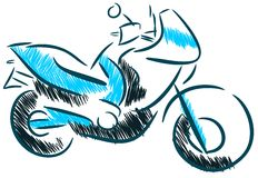 Sketch of a motorcycle isolated Stock Photos