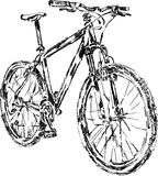 Sketch of mountain bike. Handmade sketch of mountain bycicle,  illustration Royalty Free Stock Image
