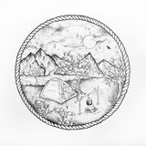 Sketch of mountain camping on a white background. stock photos