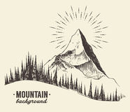 Sketch mountains fir forest sunset drawn vector. Sketch of a mountains with fir forest, sunrise sunset in the mountains, engraving style, hand drawn vector Stock Photo