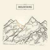 Sketch of mountains landscape. Vector highlands silhouette with hight rocks. Beautiful panorama is good for a banner, poster, flyer or postcard design Royalty Free Stock Photo