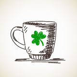 Sketch of mug with clover leaf Royalty Free Stock Photos