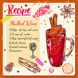 Sketch Mulled Wine Recipe Royalty Free Stock Image